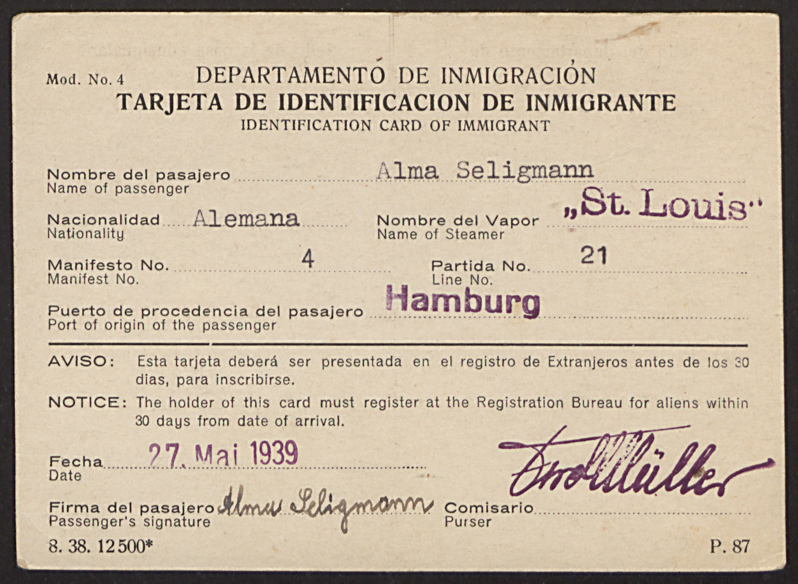 """Cuban immigration identification card issued by the Cuban department of immigration to MS St. Louis passenger Alma Seligmann.  The card bears a red stamp, """"Transuente,"""" meaning transient."""