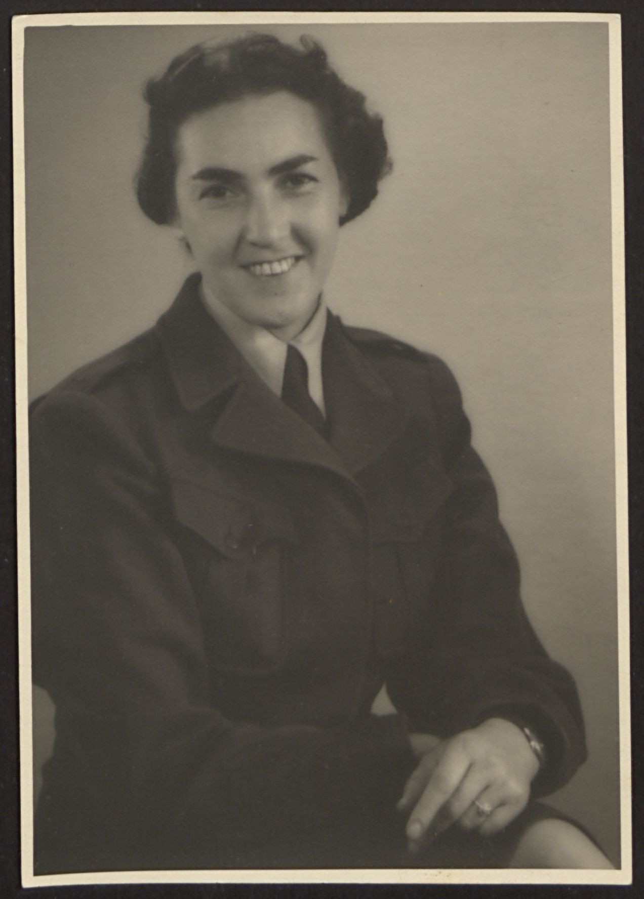 """A studio portrait of Greta Fischer.    She left Czechoslovakia in 1939 as a """"domestic"""" and went to London.  After the war she took some children from the Kloster Indersdorf DP camp to Montreal, Canada for rehabilitation."""