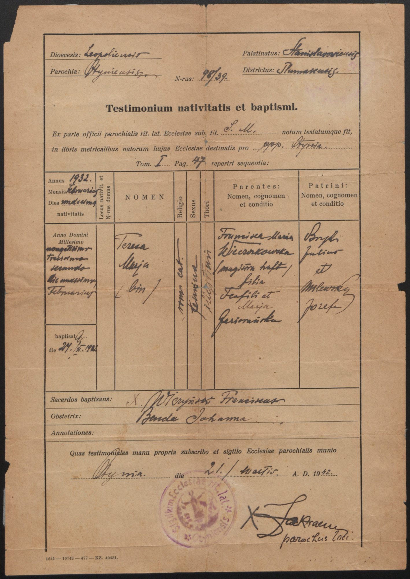 False birth certificate issued in the name of Teresa Marja Wieczorkowska, that was used by Dawid Tennenbaum, a Jewish boy who was living in hiding as a girl in the vicinity of Lvov during World War II.