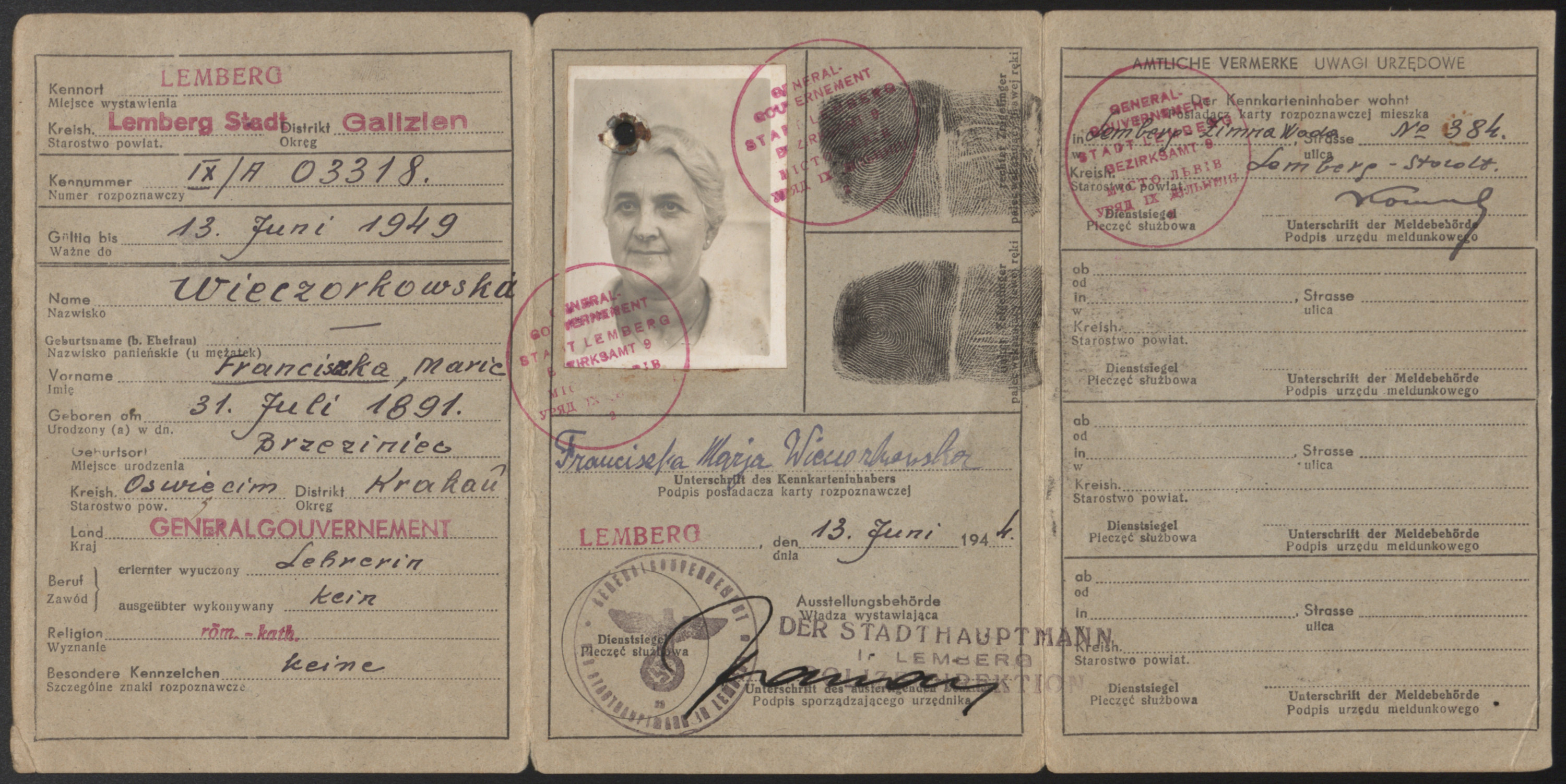 False identification card issued in the name of Franciszka Maria Wieczorkowska, that was used by Fanny Tennenbaum, a Jewish woman who was living in hiding in the vicinity of Lvov during World War II.