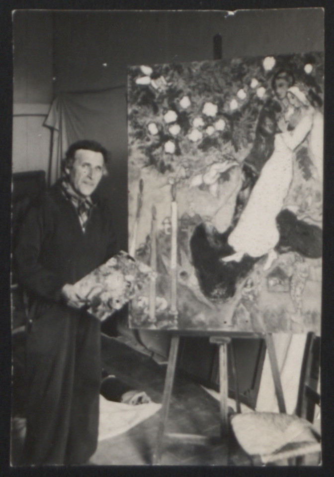 Marc Chagall painting in his studio in southern France.