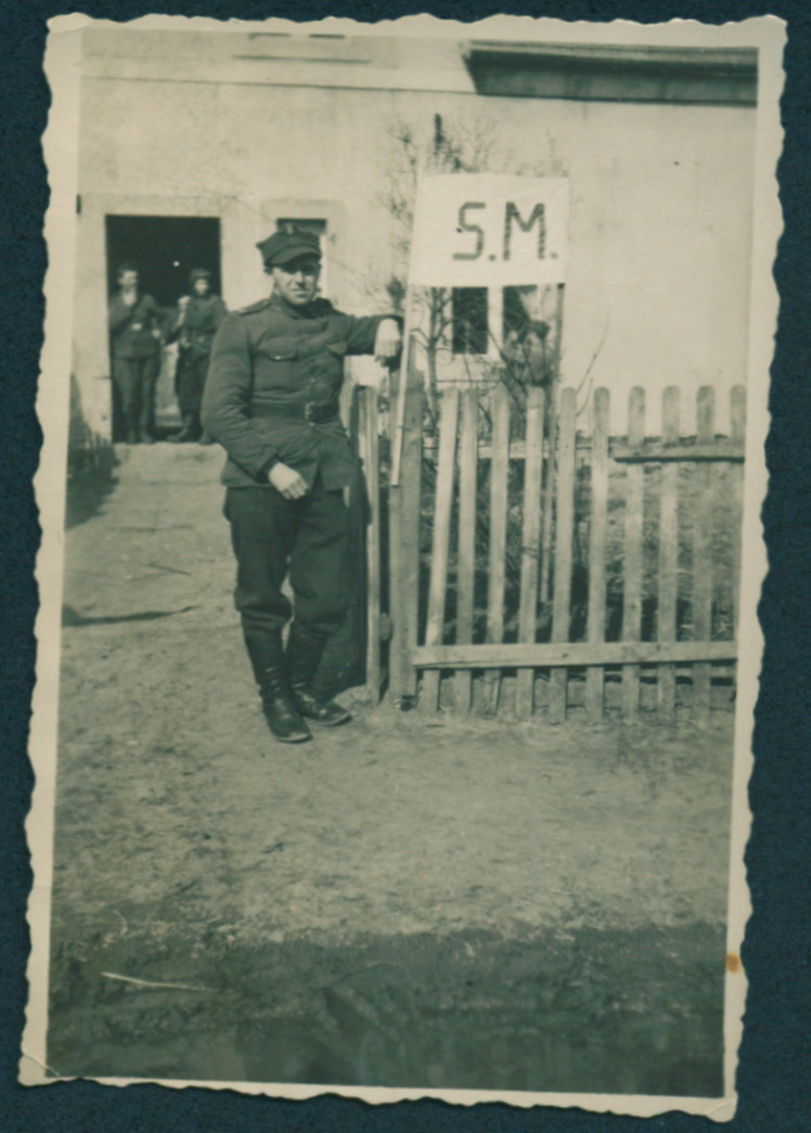 Rafael Abrahamer, a Polish-Jewish soldier, stands by the entrance of his base in Przyborowo.