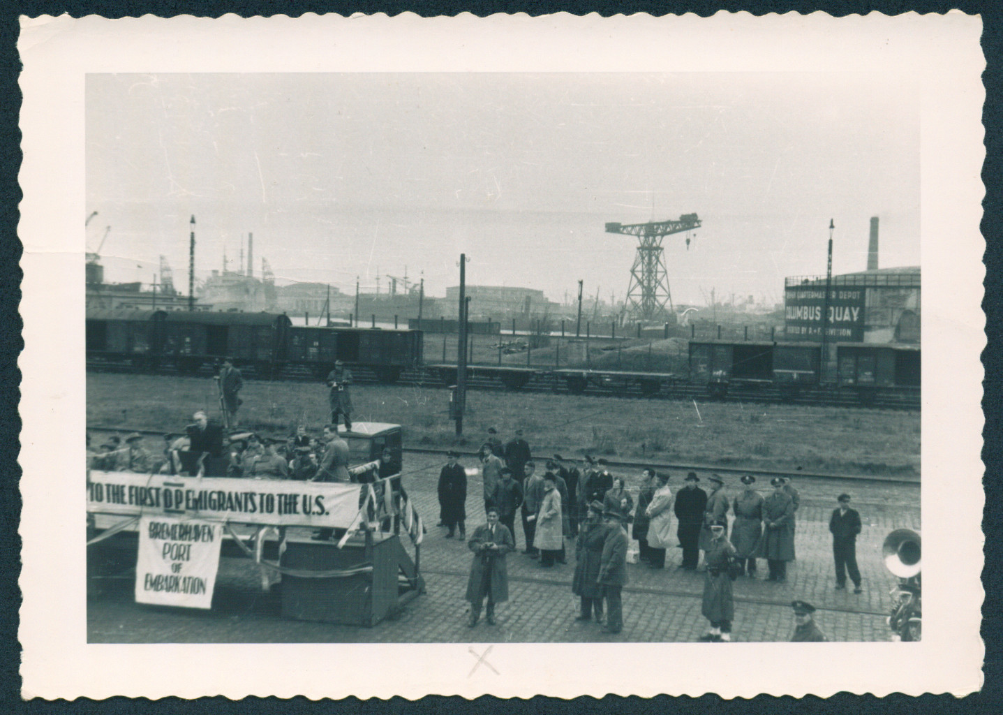People gather on the pier in Bremerhaven prior to their embarkation on the General Black.