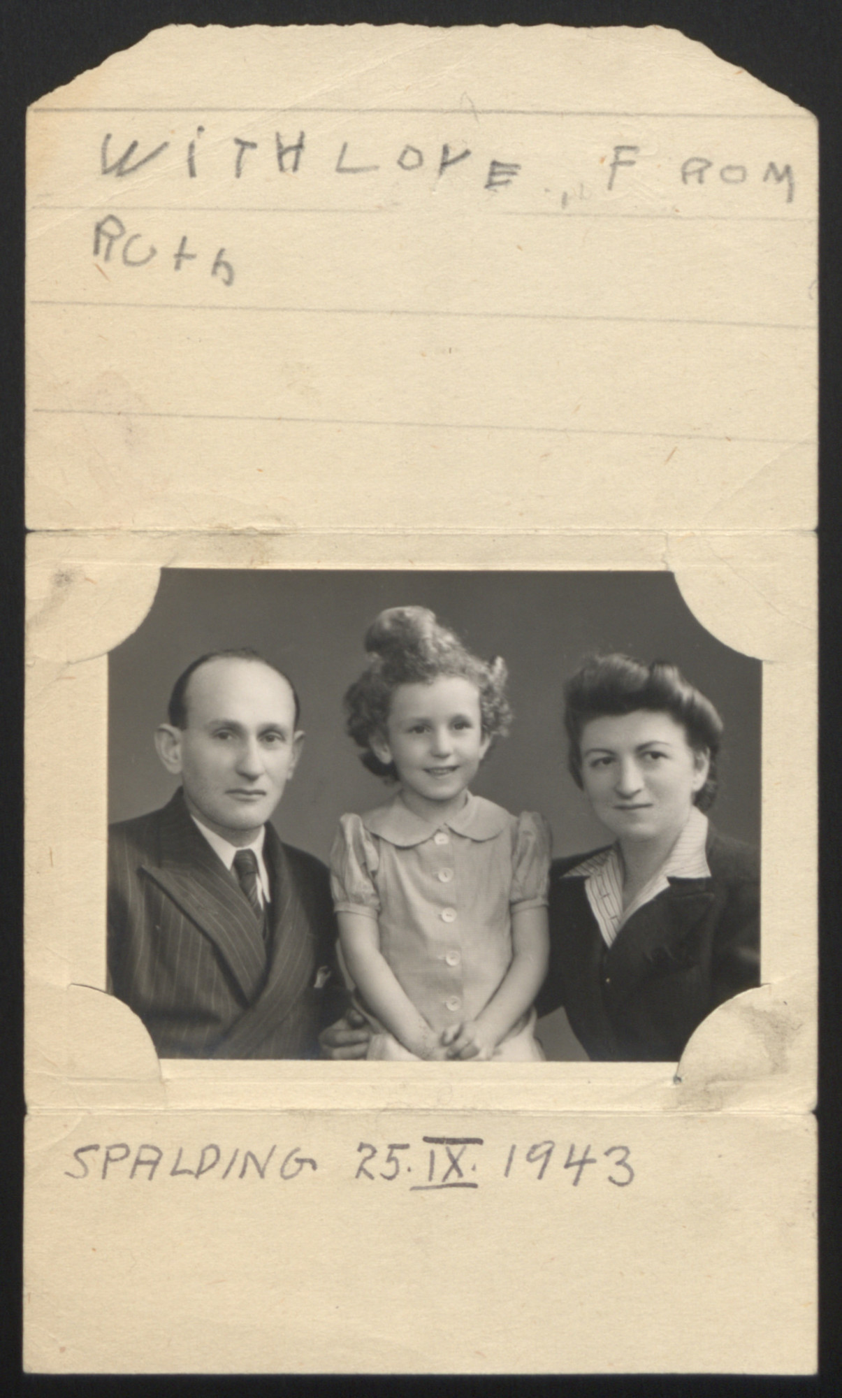 """Portrait of t Mechel, Ruth, and Lea Blumenstock in England where they stayed after the return of the St. Louis.  Photograph was later attached to the card signed, """"With love, Ruth,"""" and dated """"Spalding, September 25, 1943."""