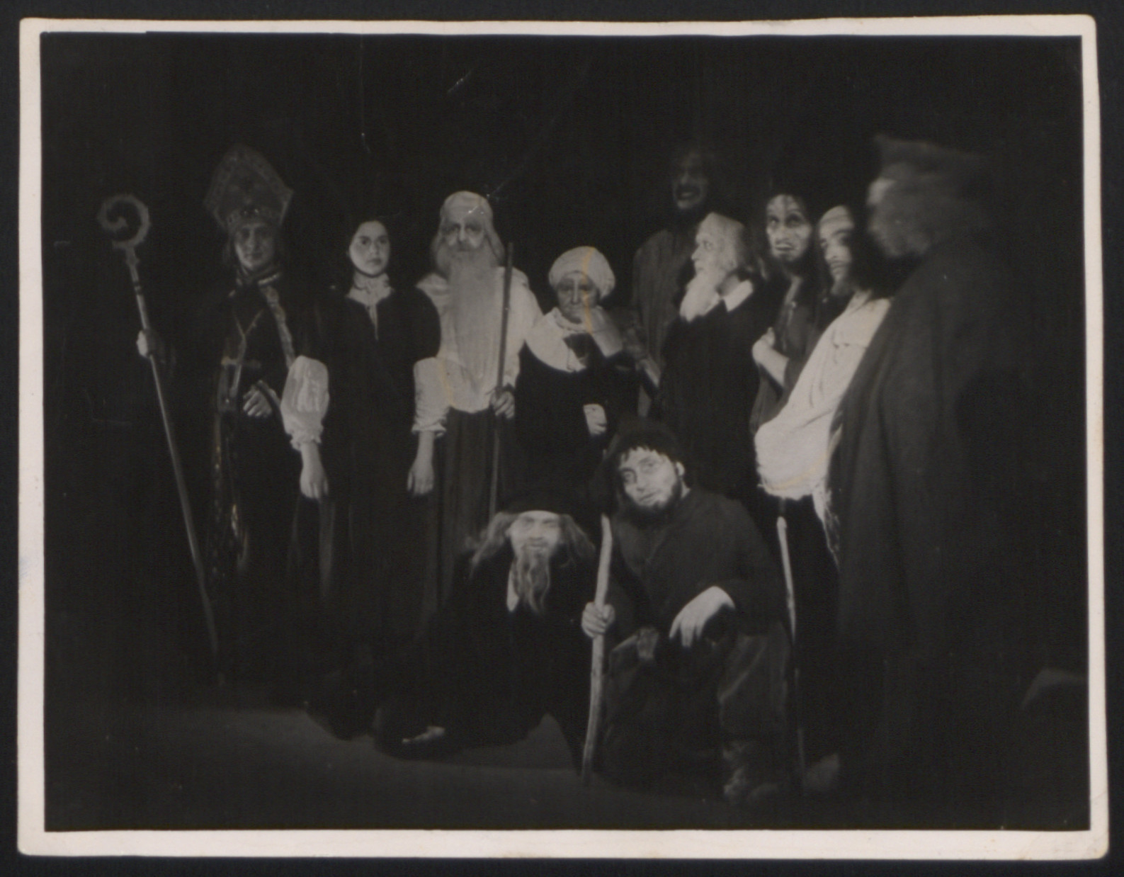 Members of Hazamir Chorale perform in the play, The Golem, in the Landsberg displaced persons camp.