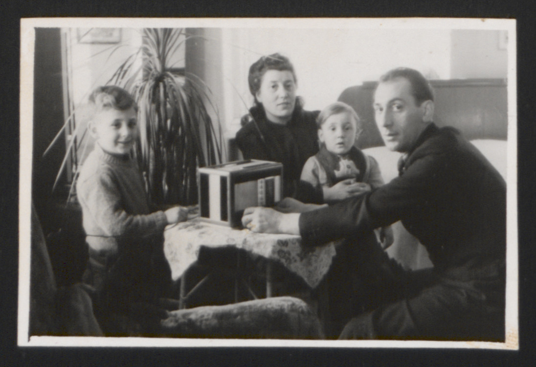 Friends of Chil Turek's pose for a picture in a displaced persons camp.