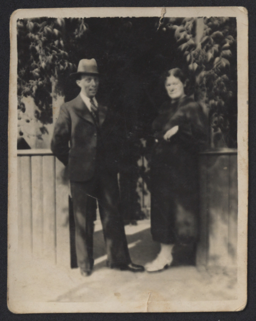 Close-up portrait of Szmil and his wife [probably in Sawin].  Awigdor Kreis worked in their tailoring workshop before the war.