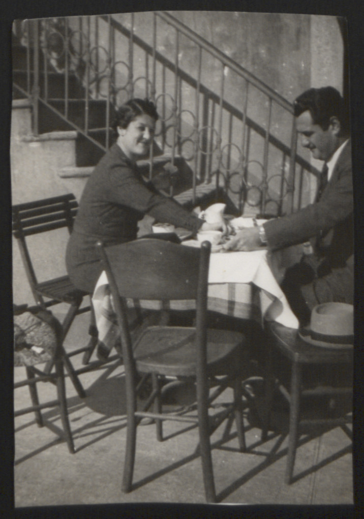 Lilly and Tibor Breuer drink coffee outside their apartment in Rapallo, Italy, 1930's