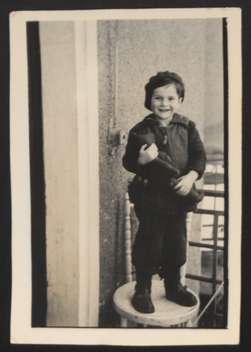 Close-up portrait of John Merei, a young Jewish boy who arrived in Switzerland on the Kasztner Transport.  This was the first photo taken of John after his release from Bergen-Belsen.