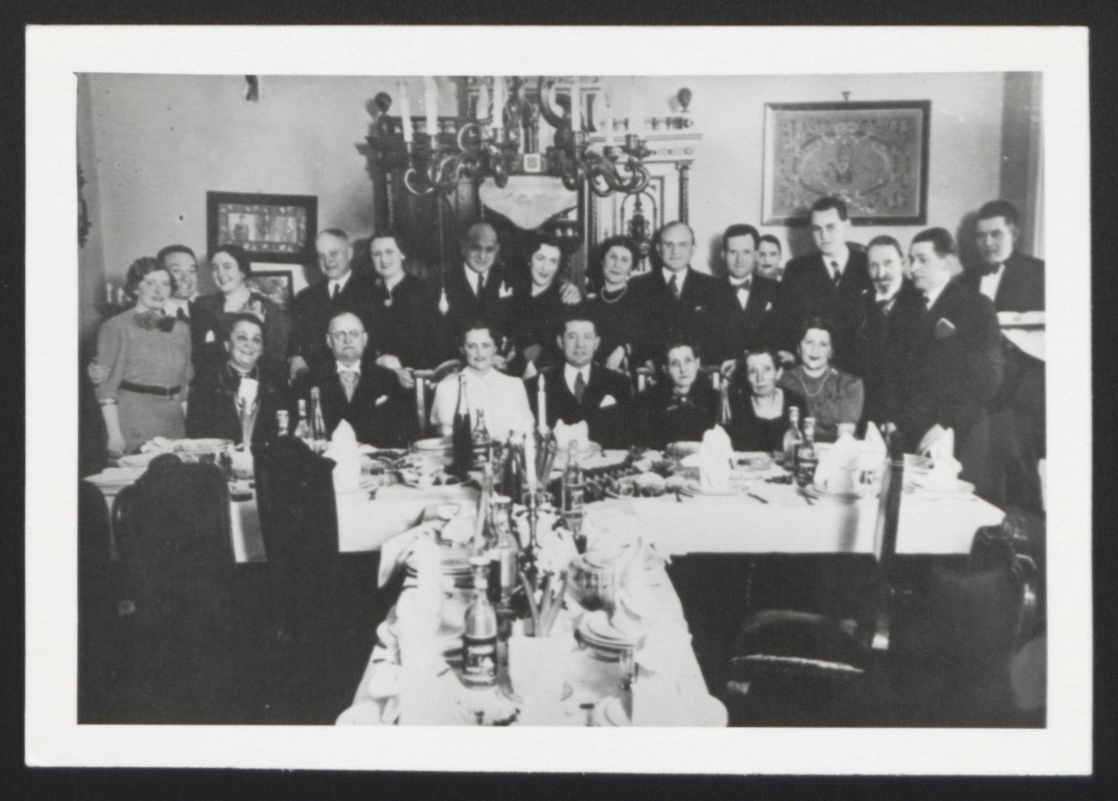 Wedding banquet for Ernest and Ernestine Merei held at the home of Ernestine's parents.