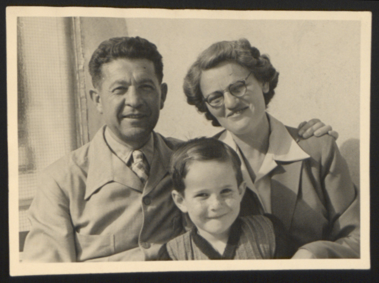 Close-up portrait of Ernest, Ernestine and John Merei taken shortly after their arrival in Switzerland on the Kasztner Transport.