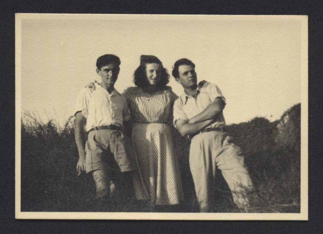 Portrait of three young people in the Deggendorf displaced persons camp.  Among those pictured are Lenke Gruenberg and Saul Eckstein.