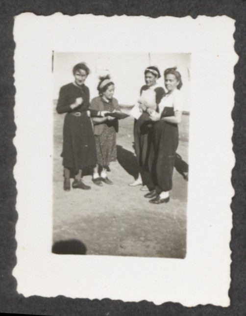 Jewish refugees from the shipwrecked Pentcho, [location unknown].  Pictured on the left is Stefanie (Sohr) Fellner.