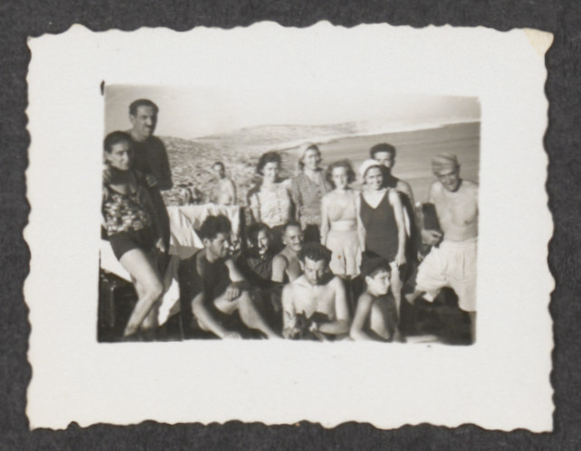 Jewish refugees from the shipwrecked Pentcho, [probably] on the island of Kamilonissi.  Among those pictured are Elsa and Poldi (standing at left),  and Stefanie and Eugen (seated in the middle).