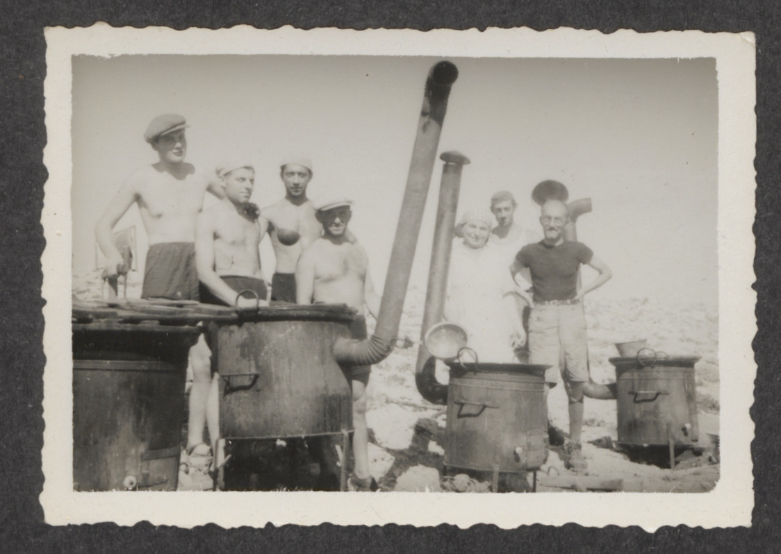 Jewish refugees from the shipwrecked Pentcho,  on the island of Kamilonissi [cooking or desalinating water for drinking?]