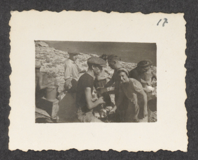 Jewish refugees from the shipwrecked Pentcho, on the island of Kamilonissi.