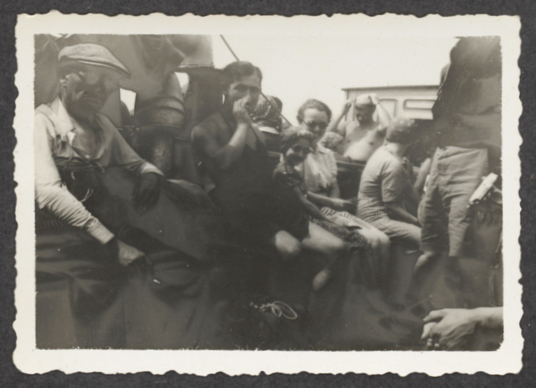 "Jewish refugees wait on board the Pentcho, after it was shipwrecked on the island of Kamilonissi.   The (post period)  inscription on the back of the photographs reads, ""On the island."""
