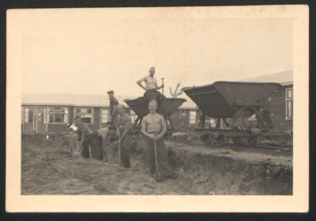 A group of Jewish inmates works at a construction site in the Westerbork transit camp.   Kurt Majerowicz is pictured in the front.