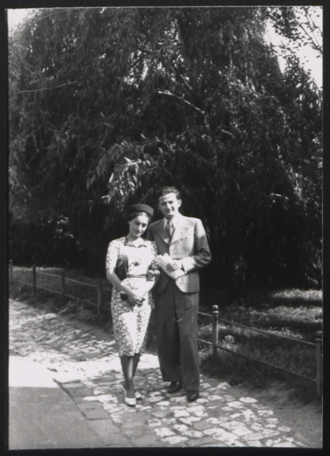 Portrait of the donor's parents who married on the 30th of August 1939, the day before World War II broke out.  Pictured are Eda and Salek Kuenstler.