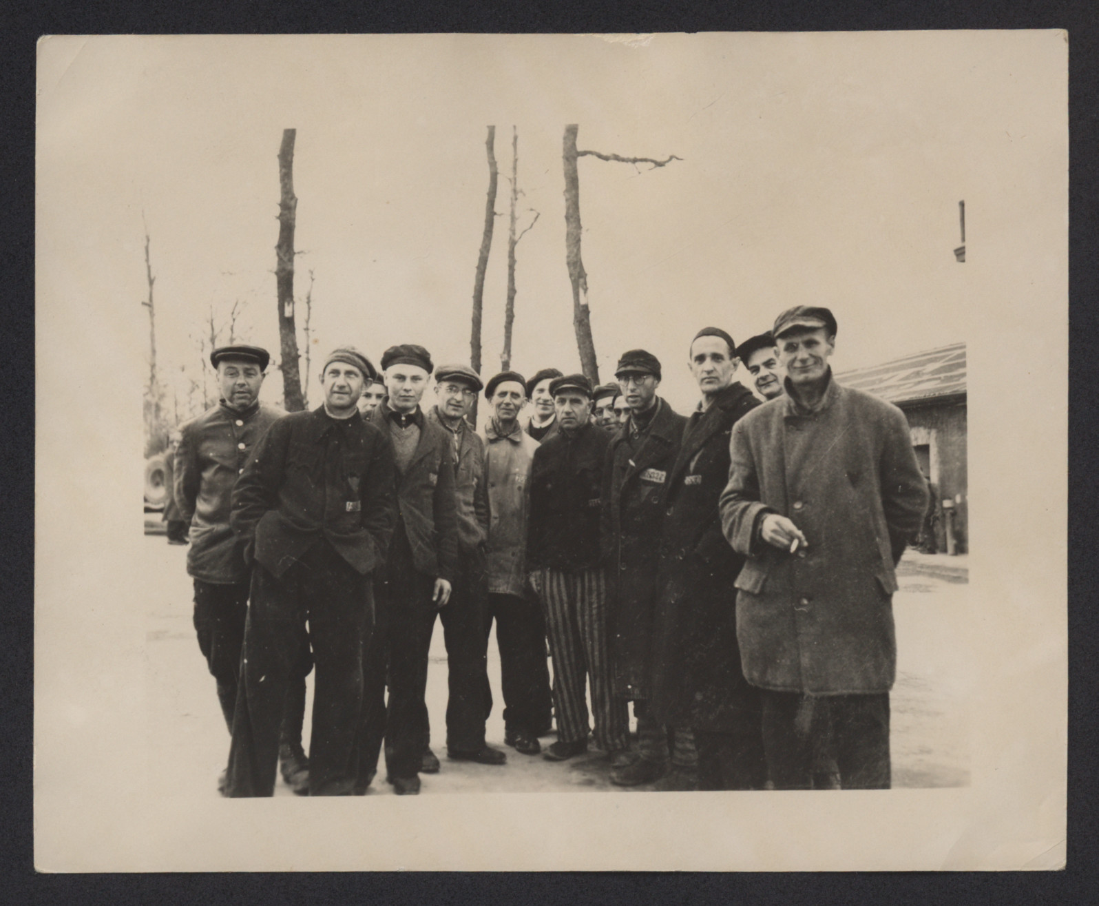 A group of survivors at Buchenwald, shortly after liberation.
