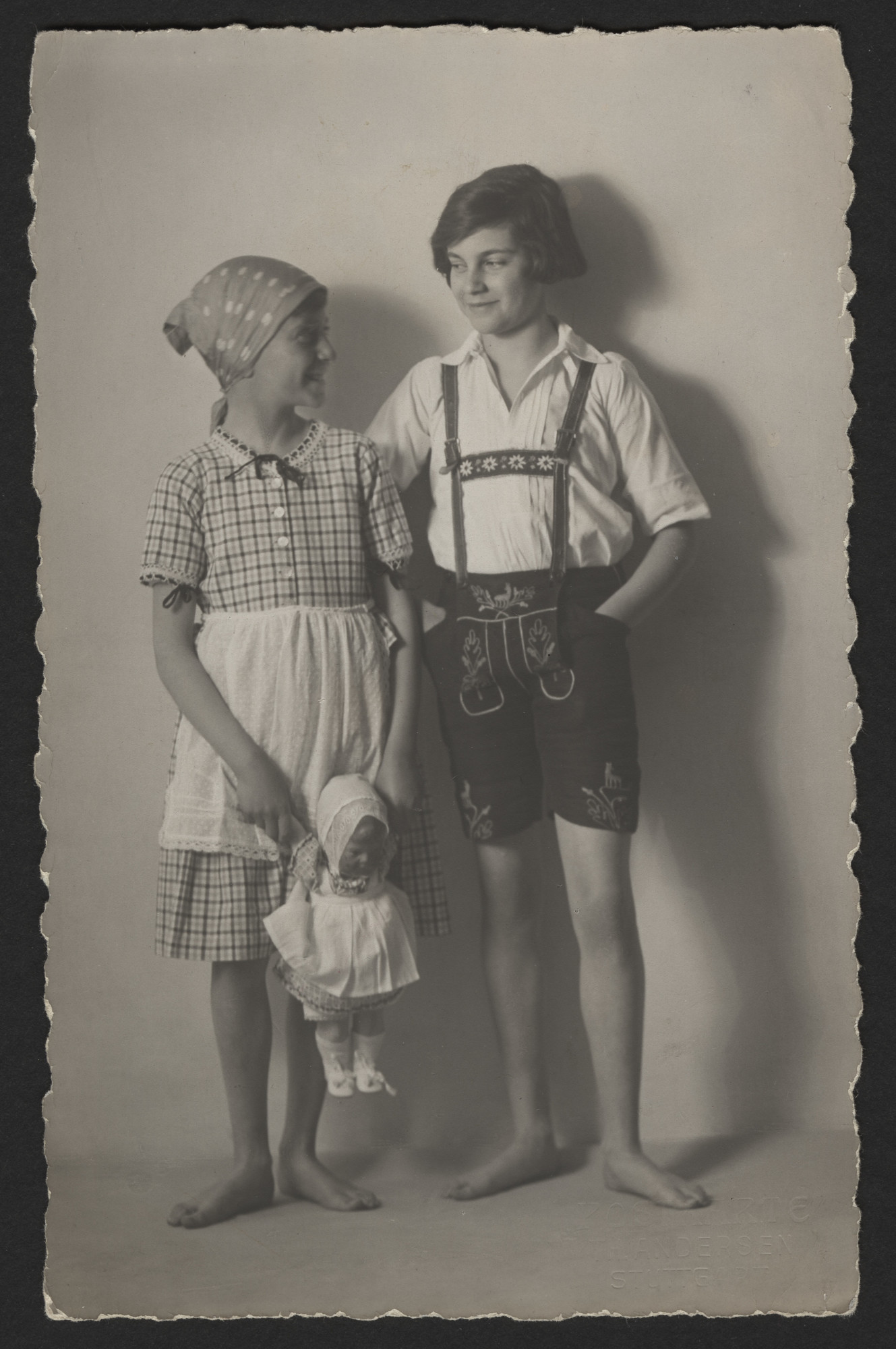 Margot Levi (later Weinshenk) and her brother Walter (left) dressed in opposite gender traditional costumes, probably taken at the Hotel Waldlust in Freudenstadt on the occasion of their grandfather Josef's birthday.