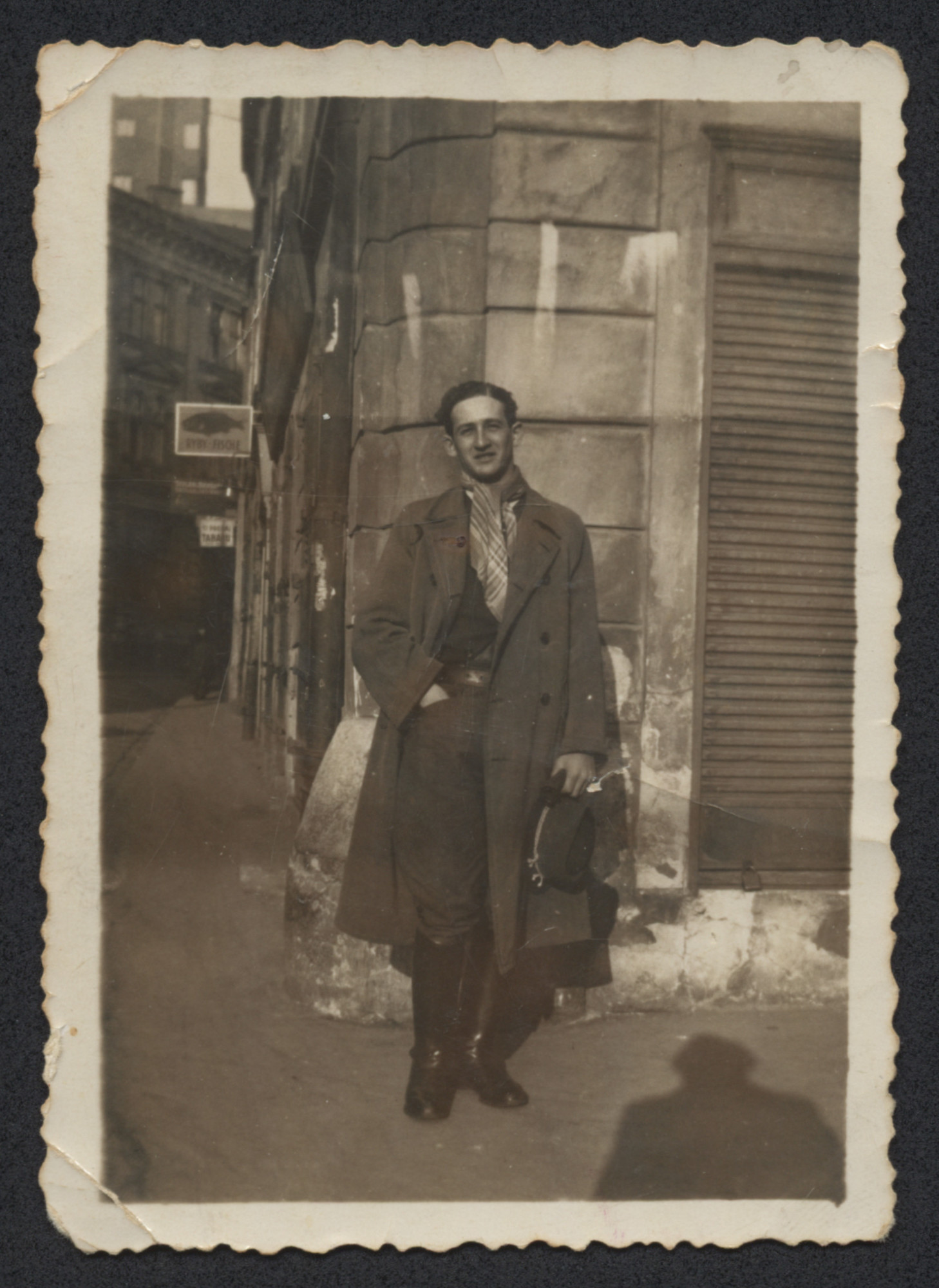 Karl Schwarz poses on a street of Bratislava shortly before leaving the country on the SS Pentcho.
