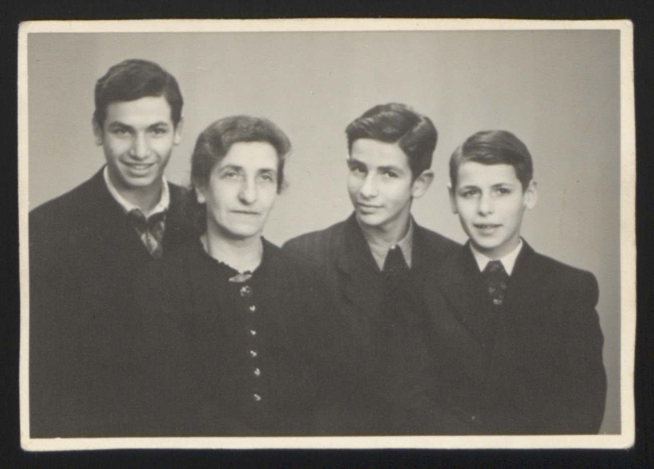 Family portrait of Karl Heinz, Rachel, Wolfgang, and Eliot Rosner after their liberation and reunion.
