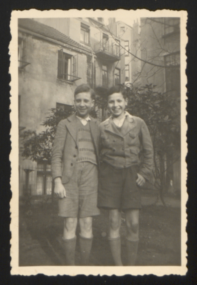 Karl Heinz Rosner (right) and Siegmar Labrisch, two boys living at a Jewish orphanage in Hamburg, Germany pose for a photograh.