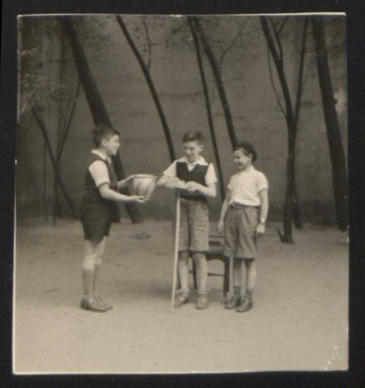Karl Heinz Rosner (right) with two unidentified friends.   Probably pictured is a school play performed at the Judische Realshule in Hamburg, where Karl lived and studied.