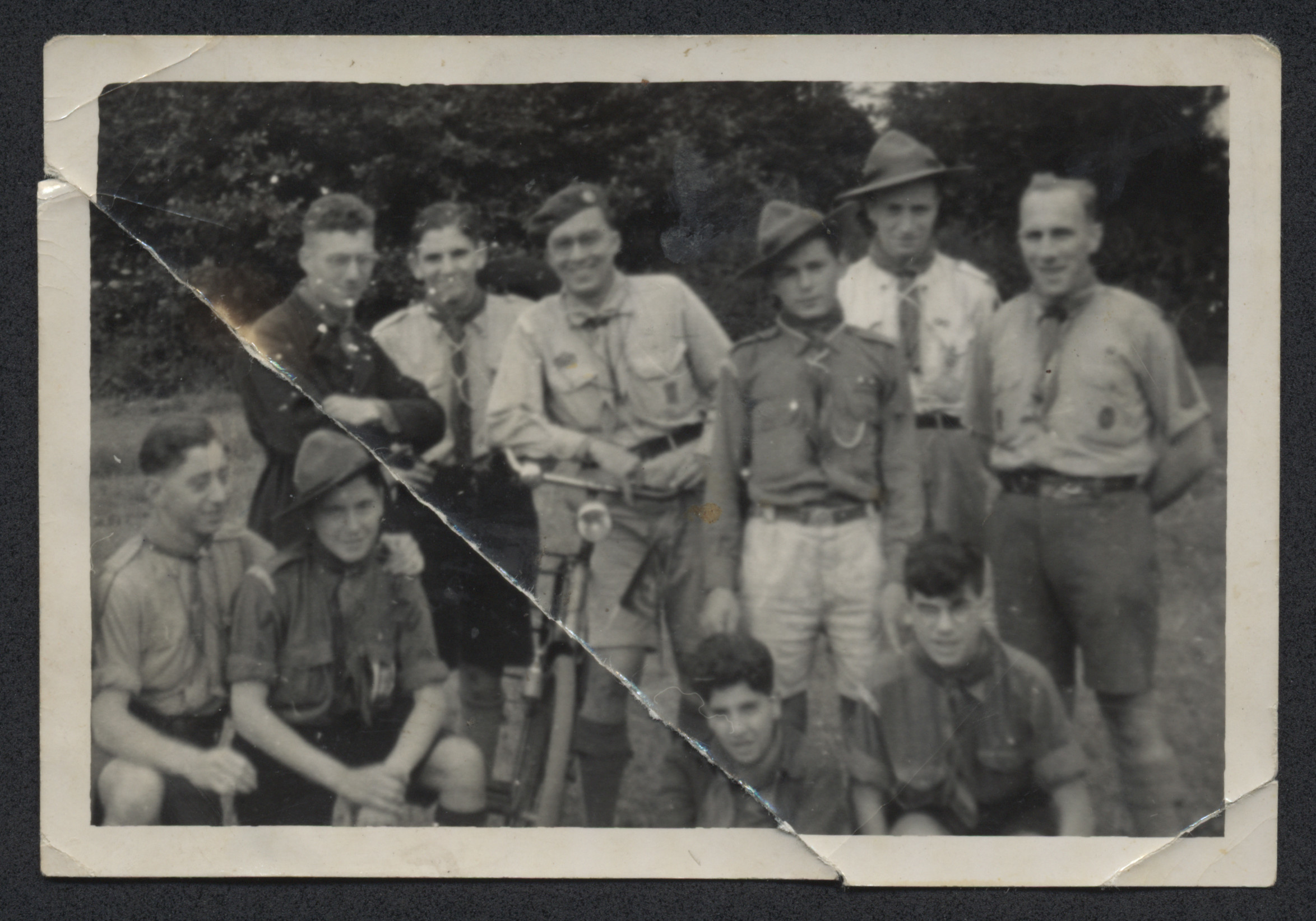 Jewish scouts pose for a group photograph.  Among those pictured is Louis Moses (front row, far left).