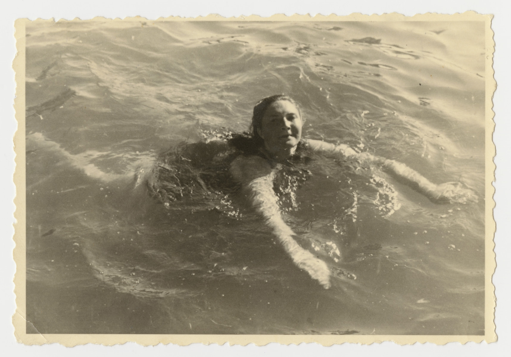 Lenka Gruenberg goes for a swim in the Deggendorf displaced persons camp.