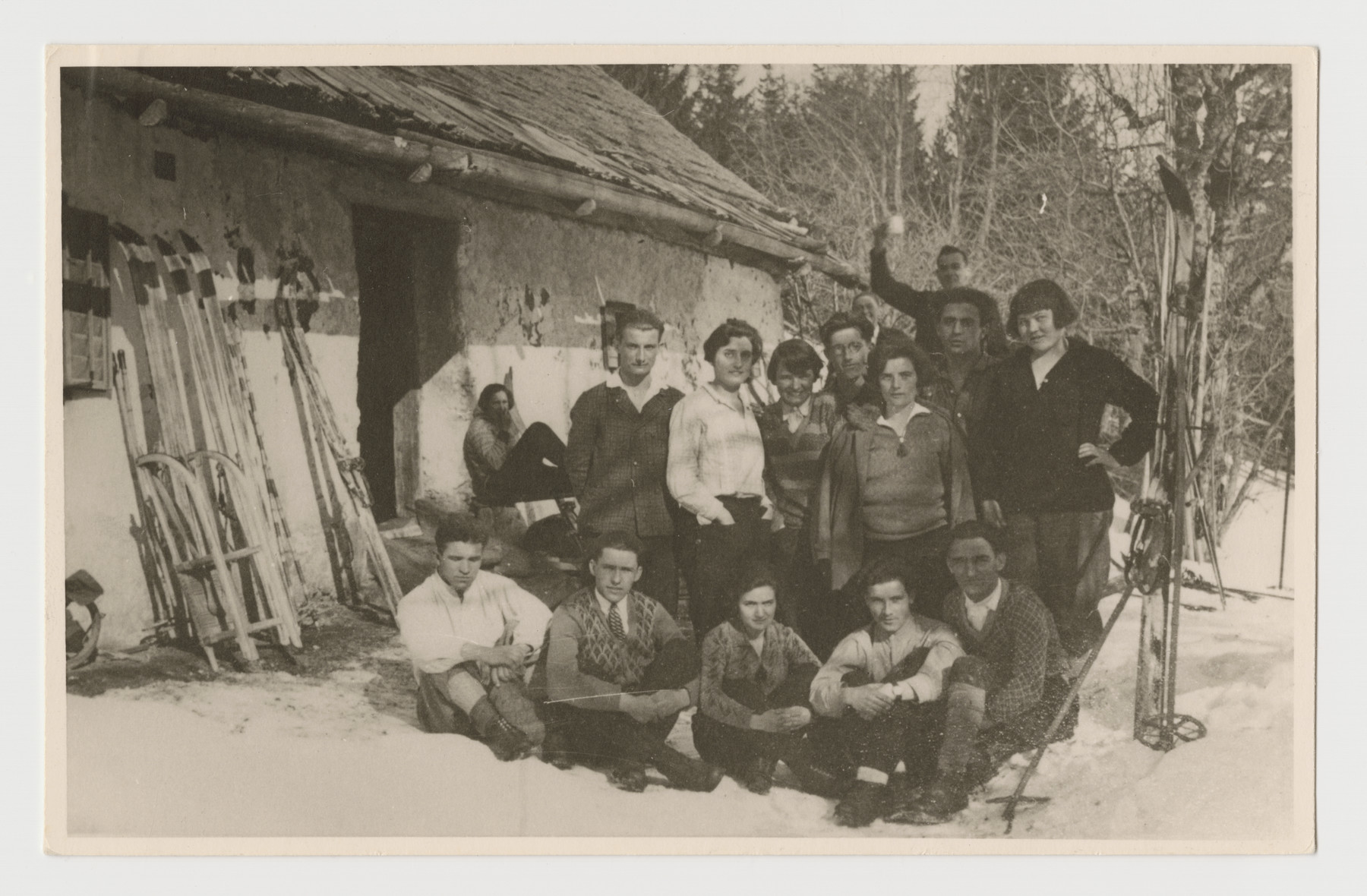 Klara Taussig (standing second from left) poses in the snow with other young people at an Austrian ski race, March 1929.
