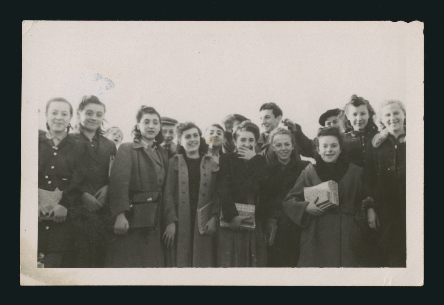 Group portrait of teenagers in the Schlachtensee displaced persons camp.