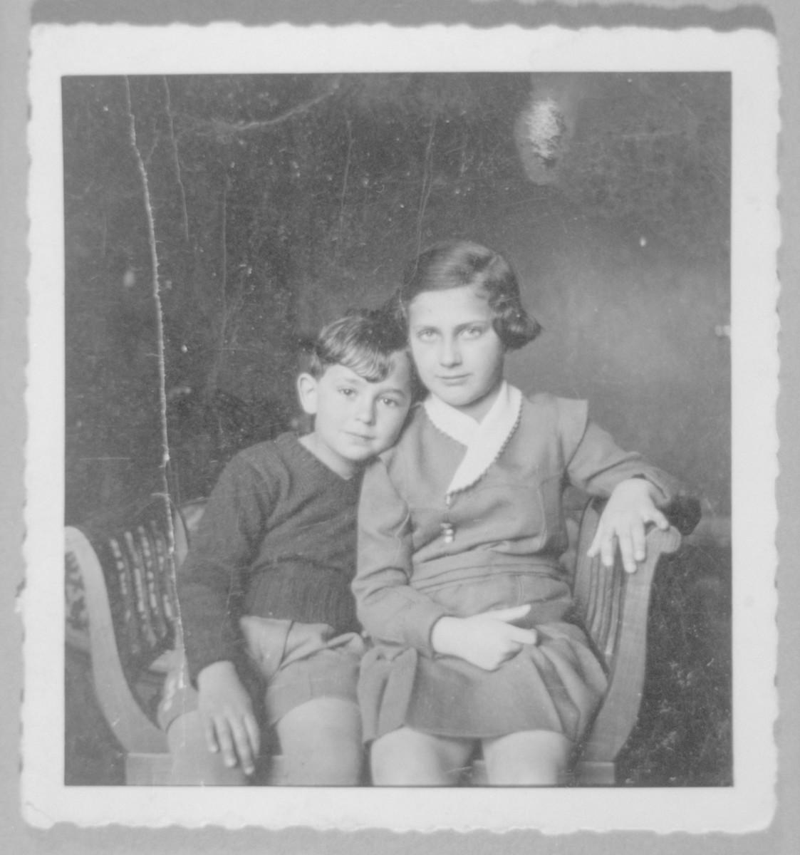 Roman Frister poses with his cousin Jadwiga Rosenstock (later Wiener).