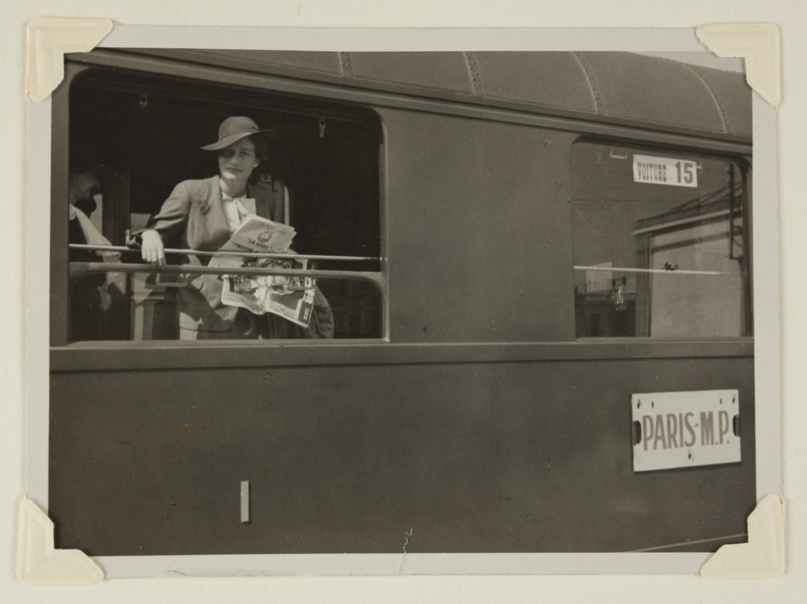 Maria Altmann (nee Bloch-Bauer) looks out a train window during her honeymoon to Paris.