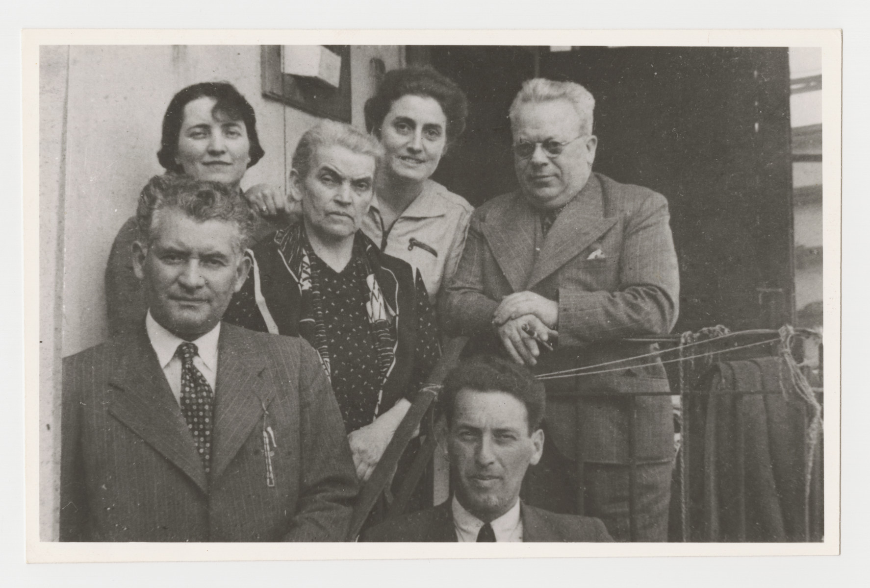 Portrait of part of the Brecher family taken soon after the Anschluss.  Pictured front row: Norbert Brecher and Ernst Brecher. Back: Sidonie Brecher, Rudolfine Rosenbaum Brecher, Klara Taussig Brecher and Leopold Blau (a cousin).