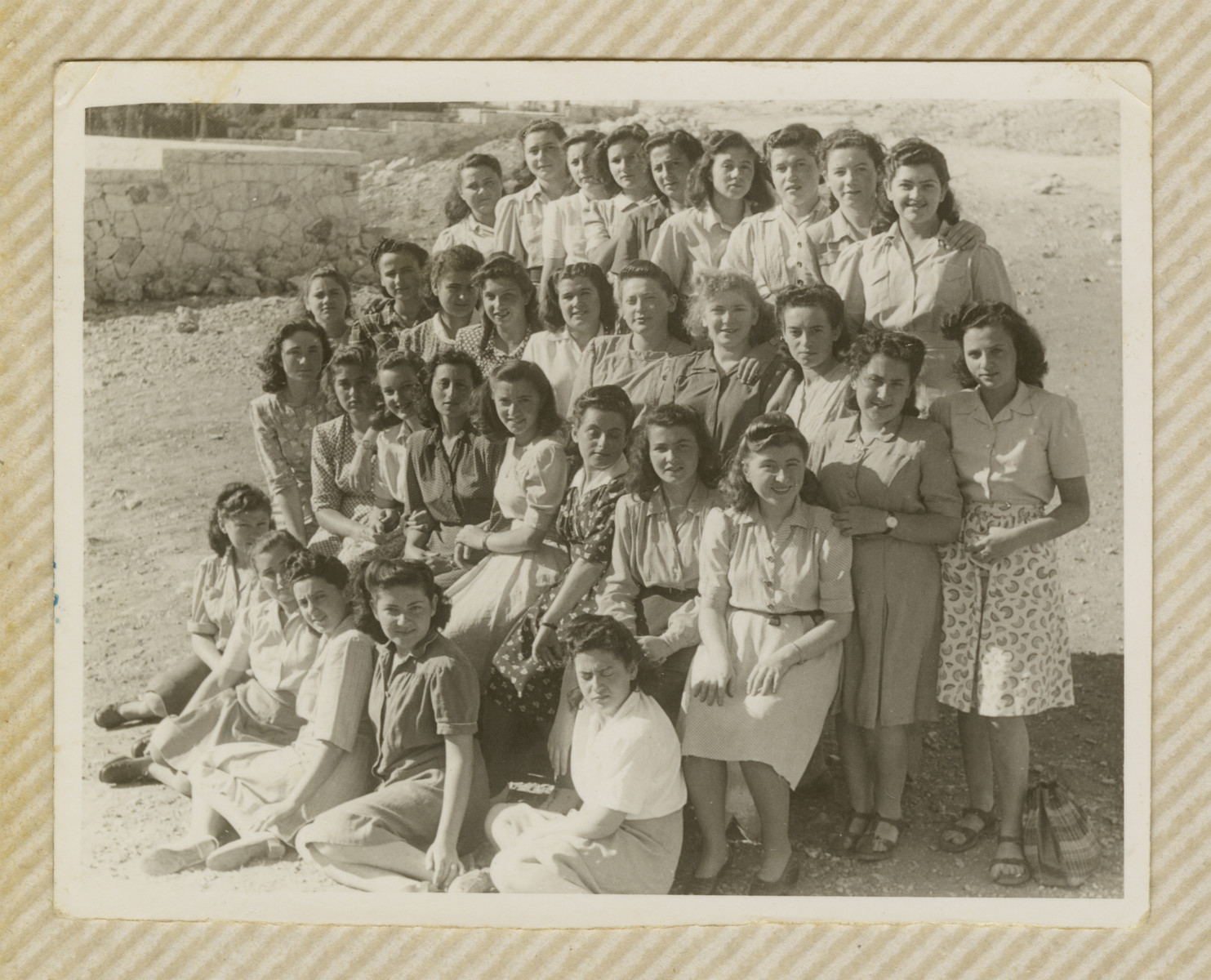 Group portrait of young women in a religious Beit Yaakov school in Jerusalem.