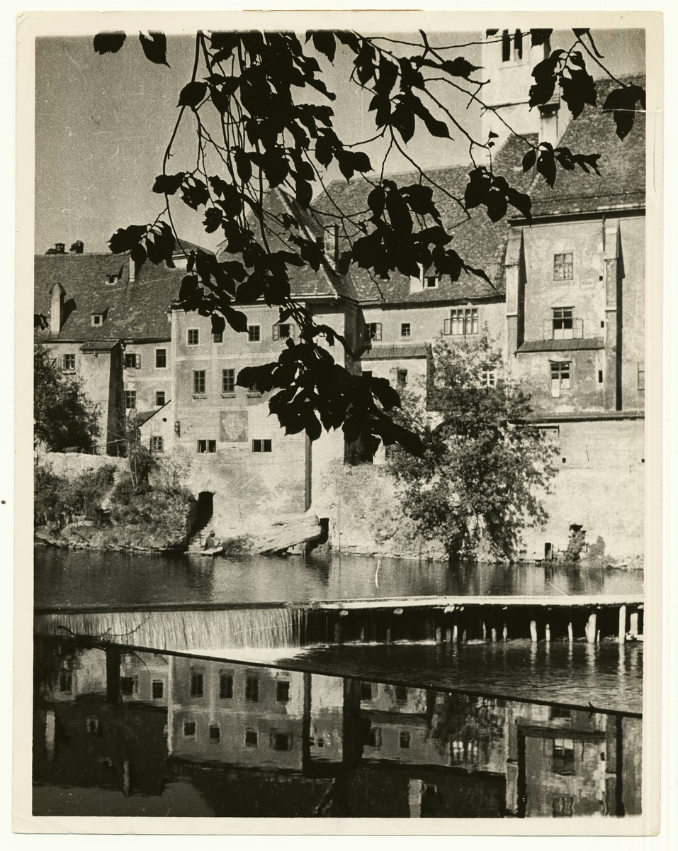 "View of the waterfront in Steyr, Upper Austria  The handwritten caption on the back of the photograph reads: ""Waterfront in Steyr, Upper Austria."""
