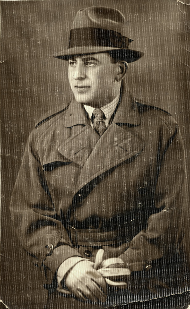 Studio portrait of Jewish rescuer, Jack (Jaques) Diker who with his Christian wife, helped find hiding places for Thea Friedman to hide.