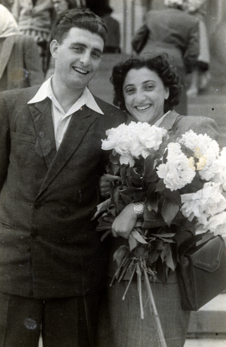 Wedding portrait of Thea and Josef Friedman who married in a civil ceremony in post-war Cernauti.