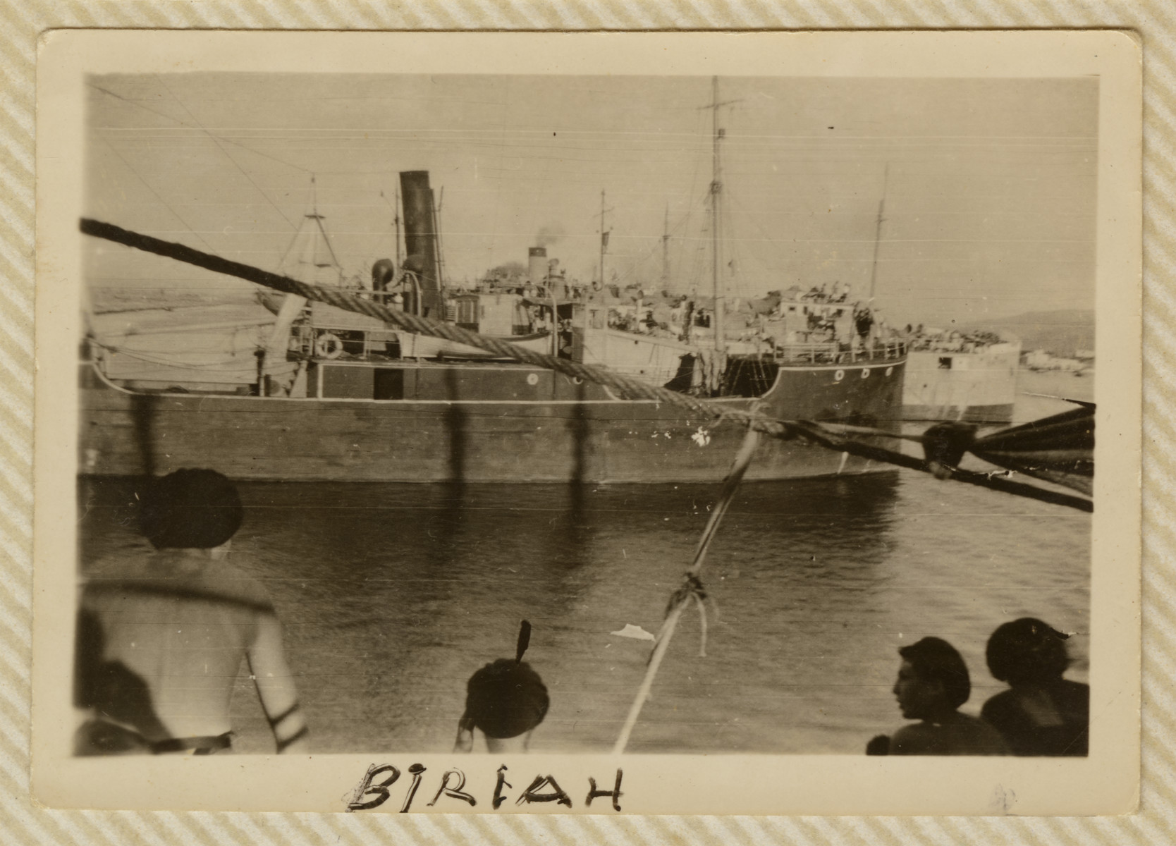 View of the Biriah, a ship carrying Jewish refugees en route to Palestine.