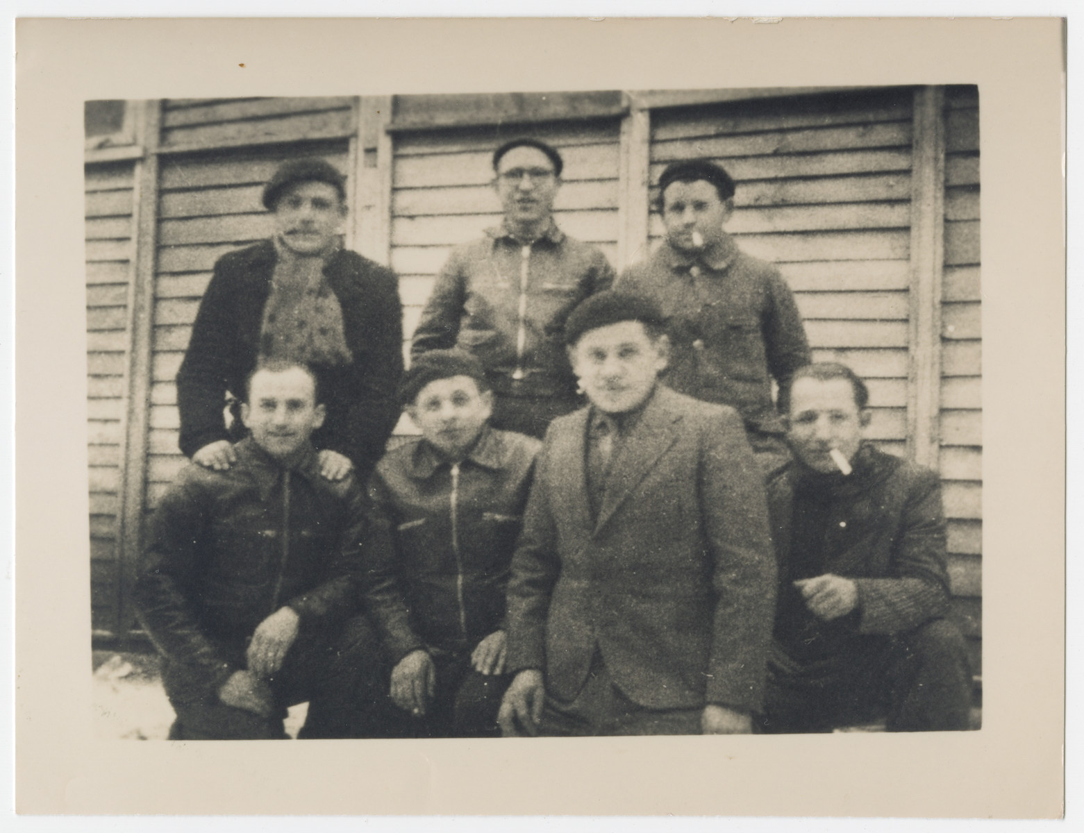 Prisoners in the Pithiviers transit camp.    The man with the cigarette is Samuel Karpik (father of the donor).