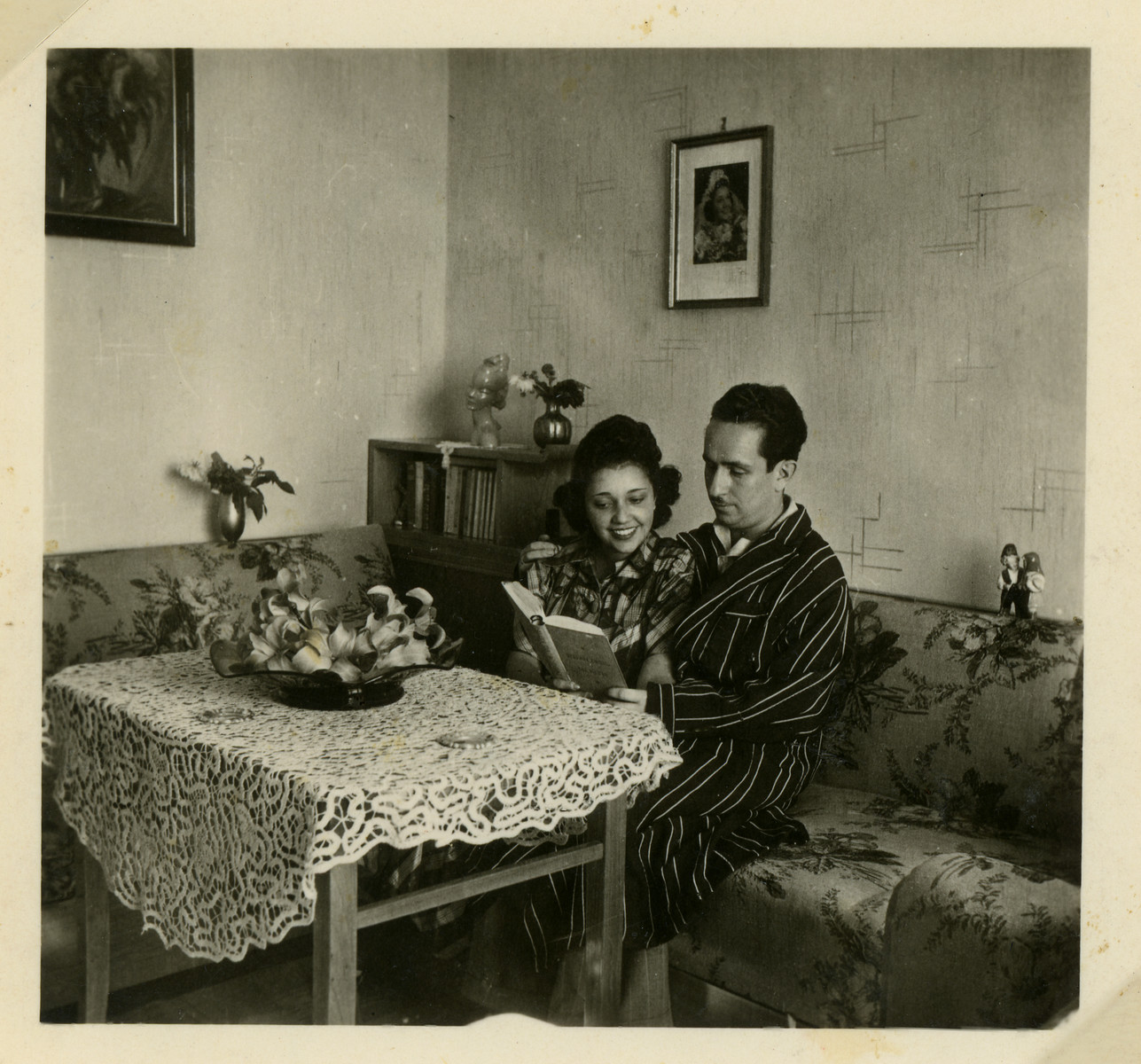 Anna and Lorand Lenji enjoy a book together shortly after their marriage.