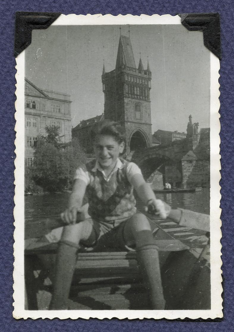 Michael Gruenbaum rows a boat on the Vltava River (The Moldau) in postwar Prague.