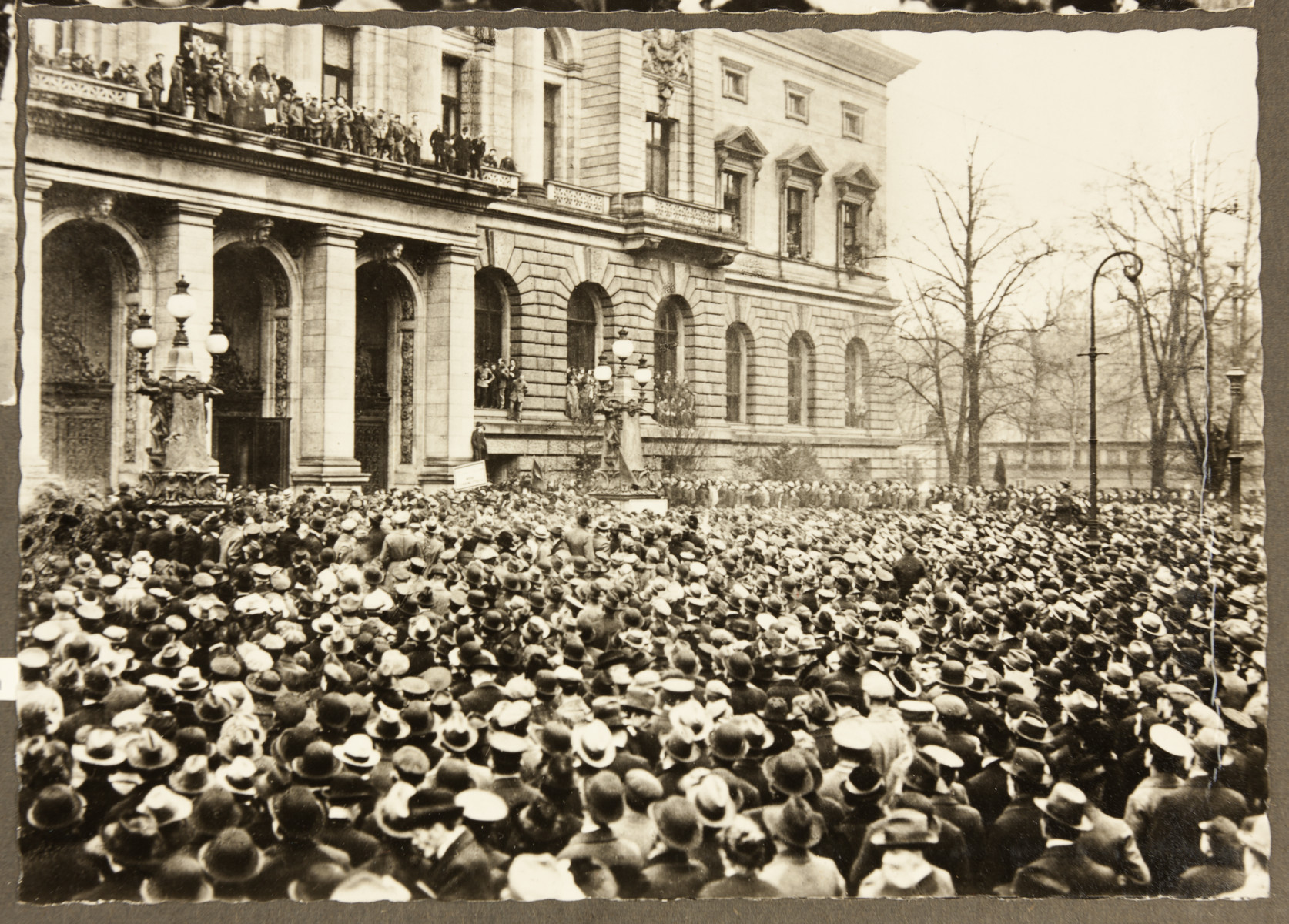 A crowd gathers before the Prussian House of Representatives building in Berlin.  The Prussian House of Representatives voted to disband at the onset of the German Revolution of 1918 -1919.