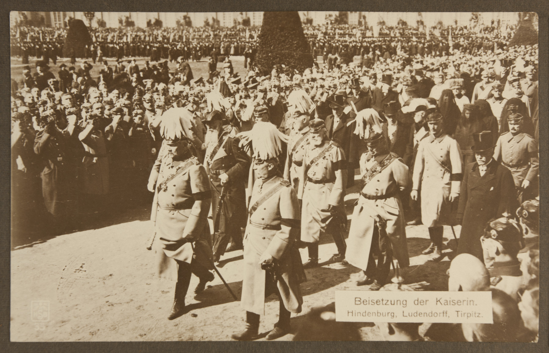 Generals Paul von Hindenburg and Erich Ludendorff, and Admiral Alfred von Tirpitz, march in the funeral procession of Augusta Victoria of Schleswig-Holstein, wife of Kaiser Wilhelm II.