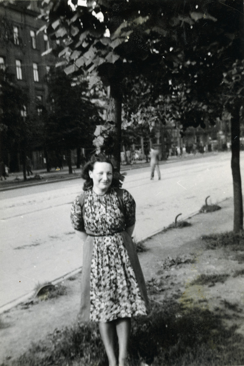Franka poses on a street in Warsaw while hiding on the Aryan side.