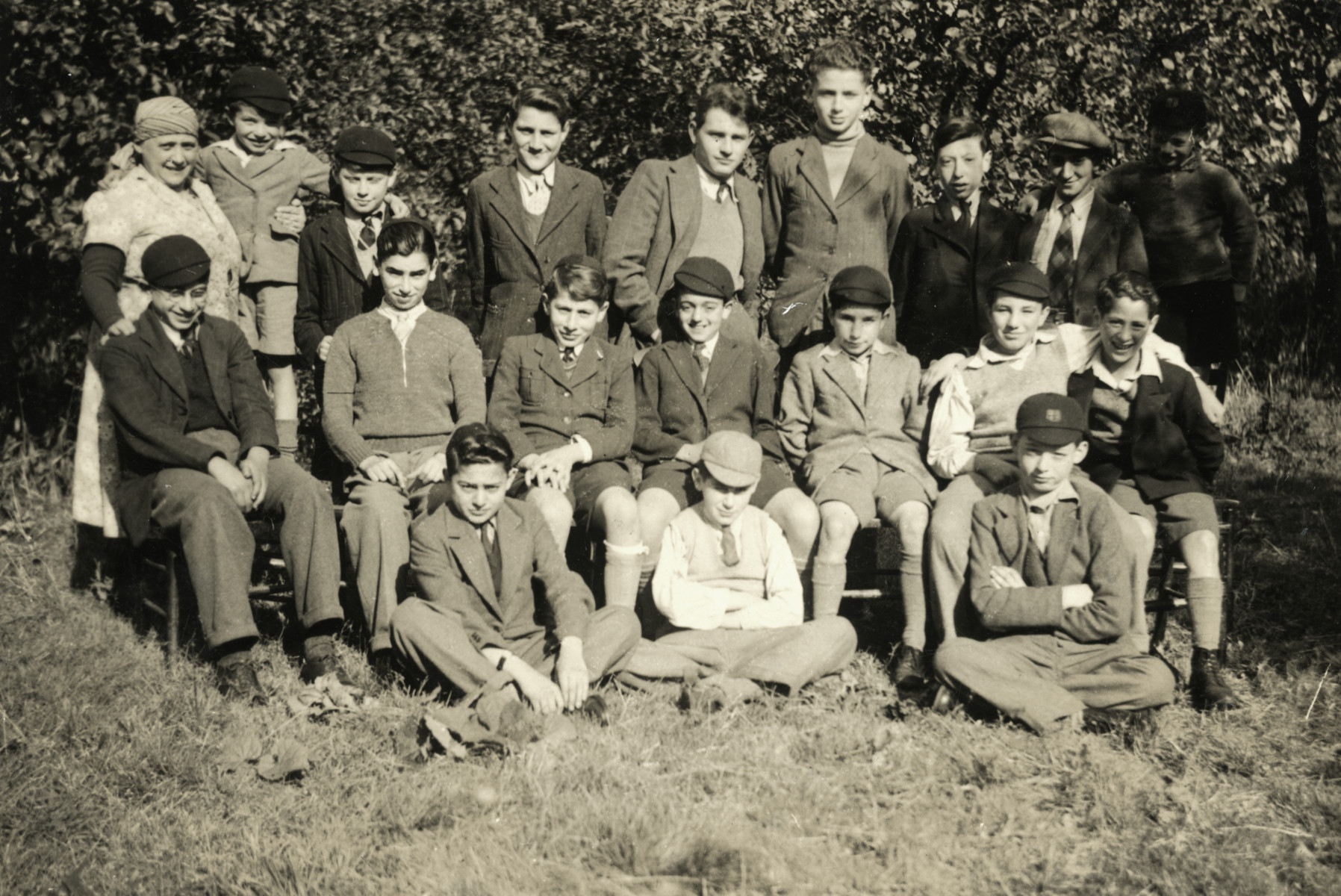 Portrait of school boys in Chase Terrace near Birmingham.  Gus Meyer who had come to England on a Kindertransport is in the top row, fourth from the left.