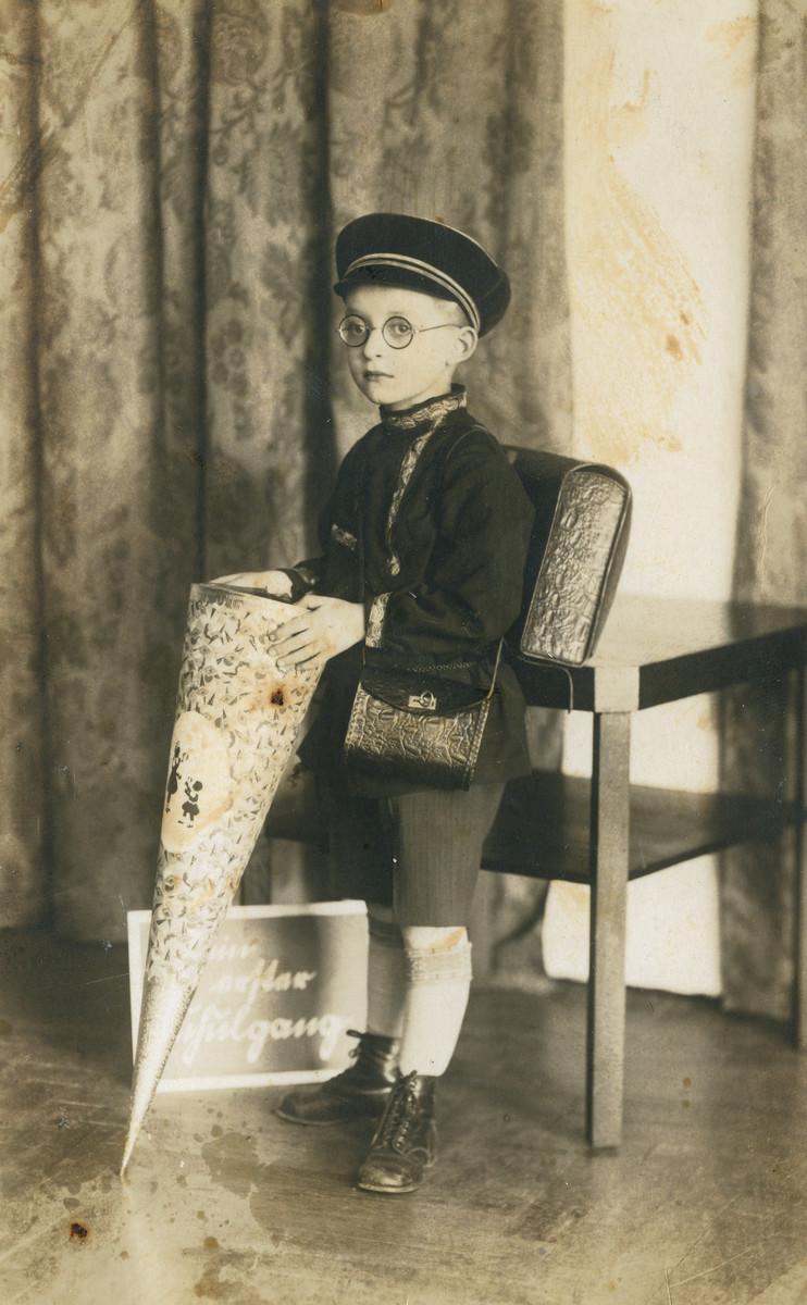 Studio portrait of Leo Drabinowski on his first day of school.