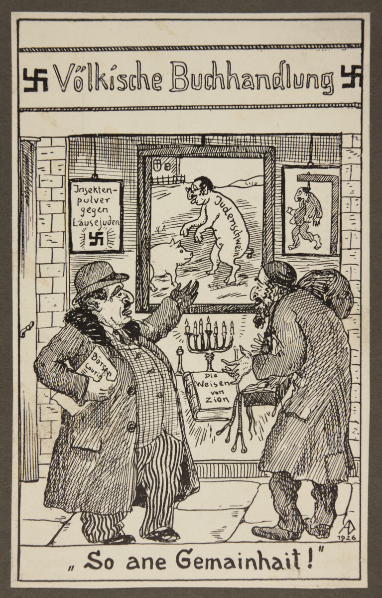 "Nazi propaganda of two stereotypically depicted Jewish men appraising antisemtic caricatures in the window of a nationalist bookstore.  The text reads: ""Such a disgrace!"""